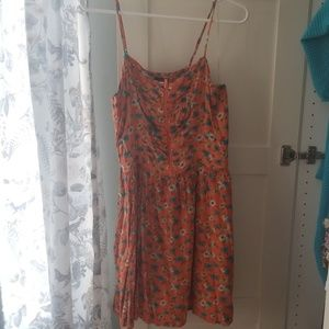 Fire Los Angeles orange floral strappy dress